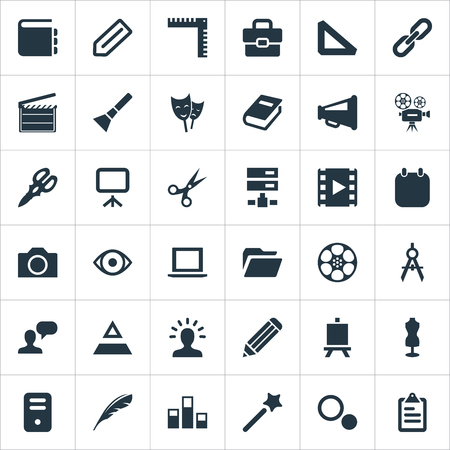 요소 펜, 물러나, 시스템 단위 및 기타 동의어 카메라, 사진 및 차트. 벡터 일러스트 레이 션 간단한 디자인 아이콘의 집합입니다.