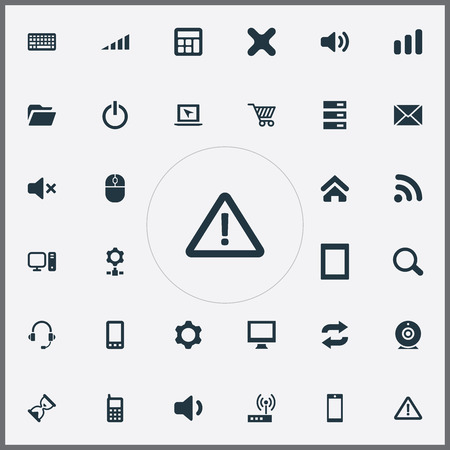 Elements Calculator, Mobile, Cogwheel And Other Synonyms Wave, Microphone And Wifi.  Vector Illustration Set Of Simple Device Icons.