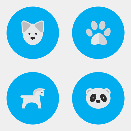 Elements Foot, Bear, Wolf And Other Synonyms Dog, Wolf And Animal.  Vector Illustration Set Of Simple Animals Icons. Illustration