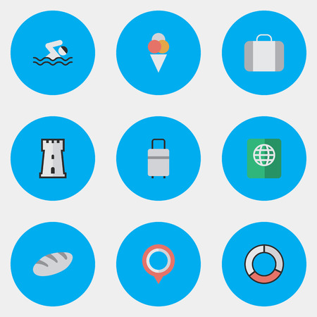Elements Pool, Tower, Certificate And Other Synonyms Pin, Swimming And Location.  Vector Illustration Set Of Simple Relax Icons.