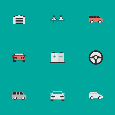 Elements Accumulator, Bridgework, Shed And Other Synonyms Family, Crossover And Steering.  Vector Illustration Set Of Simple Shipping Icons. Illustration