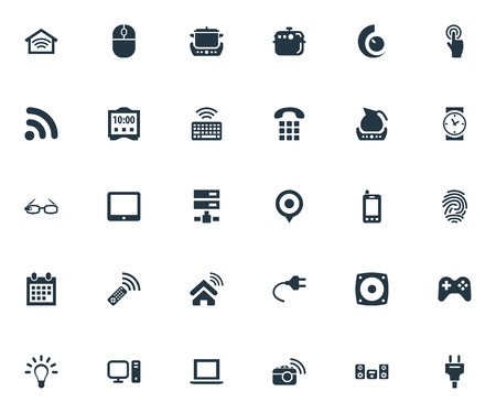 Elements Datacenter, Photography, Smart House And Other Synonyms Storage, Touchscreen And Remote.  Vector Illustration Set Of Simple Device Icons.
