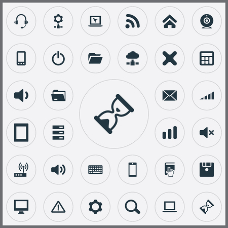 Elements Modem, Switch Button, Telephone And Other Synonyms Select, Wireless And Button.  Vector Illustration Set Of Simple Technology Icons.