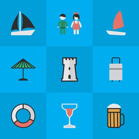 Elementen wijn, bagage, boot en andere synoniemen schip, alcohol en paraplu. Vectorillustratiereeks Eenvoudige Vakantiepictogrammen. Stock Illustratie