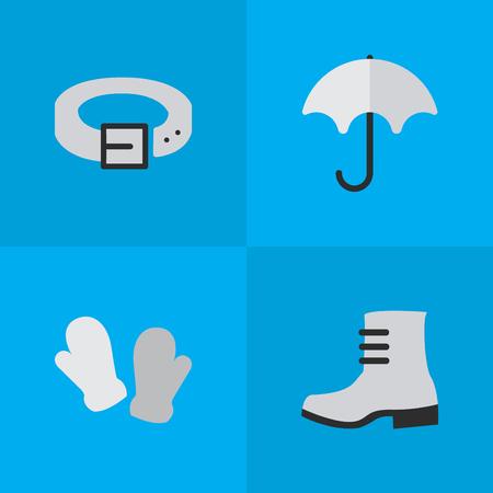 요소 부팅, 스트랩, 딱지 및 다른 동의어 구두, 허리와 비. 벡터 일러스트 레이 션 간단한 장비 아이콘의 집합입니다.