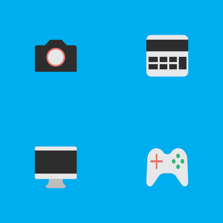 Elements Accounting, Gamepad, Photo Apparatus And Other Synonyms Calculator, Apparatus And Camera.  Vector Illustration Set Of Simple Devices Icons. Illustration
