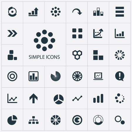 Elements Task, Pie Bar, Loading And Other Synonyms Surge, Progress And Composition.  Vector Illustration Set Of Simple Chart Icons.