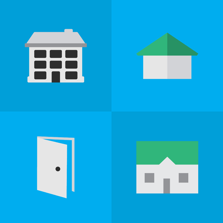 Elements House, Entry, Architecture And Other Synonyms Open, Door And Entry.  Vector Illustration Set Of Simple Estate Icons.