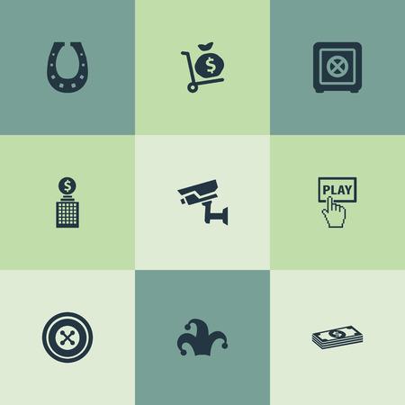 Elementen Geld Sack, Cash, Deur Decoratie En Andere Synoniemen Wheel, Cash En Start. Vector illustratie Set van eenvoudige gokken pictogrammen. Stock Illustratie