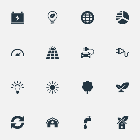Elements Earth, Reuse, Bulb And Other Synonyms Bulb, Supply And Panel.  Vector Illustration Set Of Simple Green Icons.