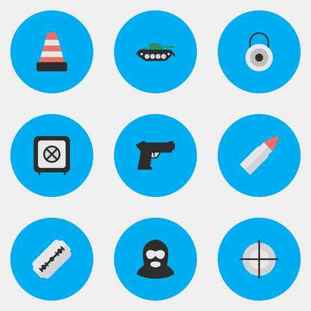 Elements Lock, Military, Isolated And Other Synonyms Isolated, Military And Tank.  Vector Illustration Set Of Simple Crime Icons. Illustration