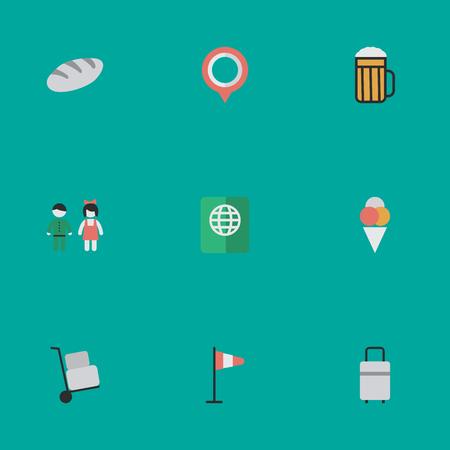 Elements Pub, Mark, Pair en andere synoniemen Hand, Mark And Bag. Vectorillustratiereeks Eenvoudige Vakantiepictogrammen.