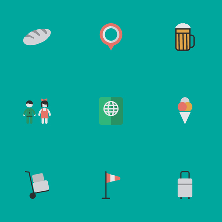 Elements Pub, Mark, Pair And Other Synonyms Hand, Mark And Bag.  Vector Illustration Set Of Simple Vacation Icons. Illustration