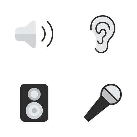 loudness: Elements Mike, Speaker, Loudness And Other Synonyms Music, Control And Hear.  Vector Illustration Set Of Simple Sound Icons.