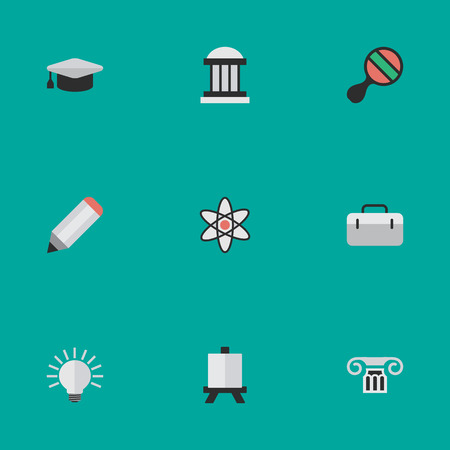 Elements Briefcase, Easel, Academic Hat And Other Synonyms Suitcase, Molecule And Museum.  Vector Illustration Set Of Simple Education Icons. Illustration