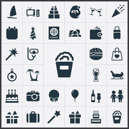 Elements Ale Mug, Island , Cinema Synonyms Case, Hamburger And Sport.  Vector Illustration Set Of Simple  Icons. Illustration