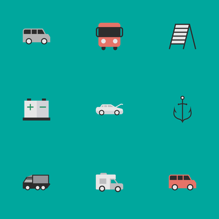 Elements Van, Minibus, Stairs And Other Synonyms Minibus, Stairway And Caravan.  Vector Illustration Set Of Simple Shipping Icons. Illustration