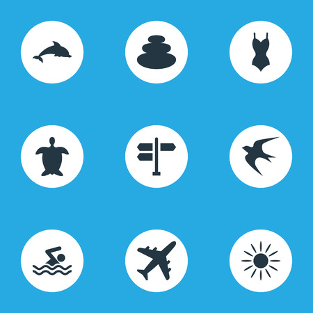 Elements Swimming Man, Airplane, Bikini And Other Synonyms Man, Seagull And Beachwear.  Vector Illustration Set Of Simple Beach Icons.