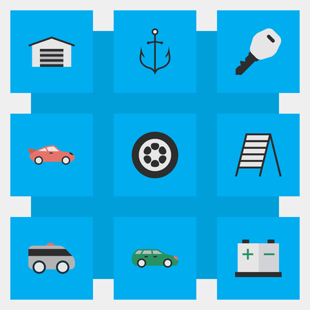 Elements Armored, Shed, Stairs And Other Synonyms Key, Tire And Battery.  Vector Illustration Set Of Simple Shipping Icons.