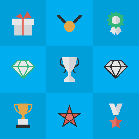 Elements Reward, First, Gemstone And Other Synonyms Gift, First And Expensive.  Vector Illustration Set Of Simple Reward Icons. Illustration
