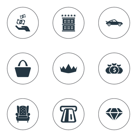 Elements Building, Vintage Automobile, Currency And Other Synonyms Earning, Bag And Building.  Vector Illustration Set Of Simple Money Icons. Illustration