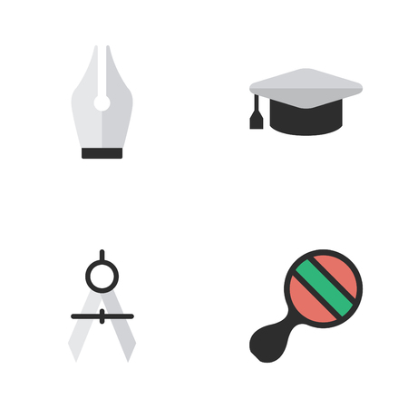 Elements Academic Hat, Racket, Measurement Dividers And Other Synonyms Ink, Graduation And Ping.  Vector Illustration Set Of Simple Education Icons.