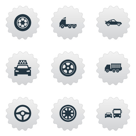 Elements Ring-Shaped, Duplicates, Old Style And Other Synonyms Tires, Race And Checkered.  Vector Illustration Set Of Simple Car Icons. Illustration