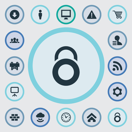 Elements Constructing, Protection Lock, Team And Other Synonyms Wireless, Client And User.  Vector Illustration Set Of Simple Interface Icons.