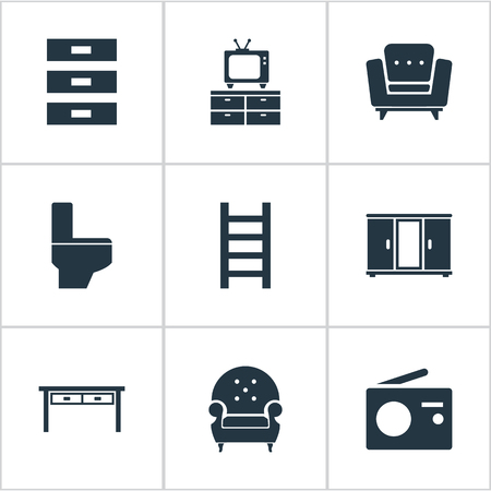 Elements Transmission, Stairway, Sideboard And Other Synonyms Couch, Radio And Closet.  Vector Illustration Set Of Simple Furniture Icons. Ilustração