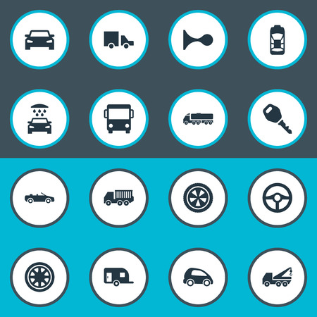 Elements Transport Cleaning, Lattice, Repair And Other Synonyms Circle, Toy And Truck.  Vector Illustration Set Of Simple Automobile Icons. Ilustracja