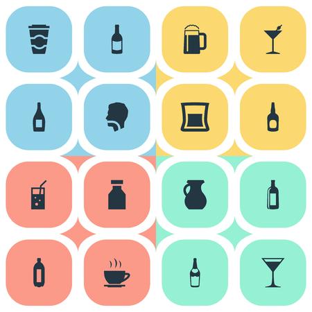 要素投手、ウォッカ、紅茶、その他類義語バー アルコールとパイント。 簡単な水アイコンのベクター イラスト セット。