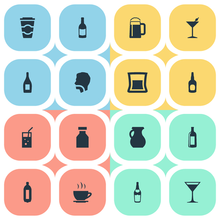 Elements Pitcher, Vodka, Tea And Other Synonyms Bar, Alcohol And Pint.  Vector Illustration Set Of Simple Water Icons. Çizim