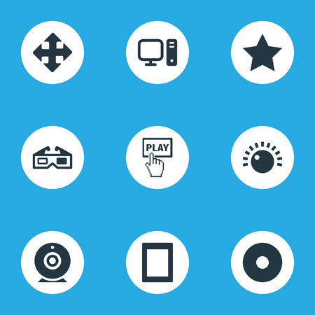 Elements Cinema, Dvd, Display And Other Synonyms Direction, Play And Dvd.  Vector Illustration Set Of Simple Game Icons.