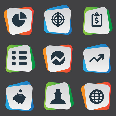 checklist: Elements Criminal, Financial Project, Target And Other Synonyms Analytics, Checklist And Saving.  Vector Illustration Set Of Simple Banking Icons. Illustration