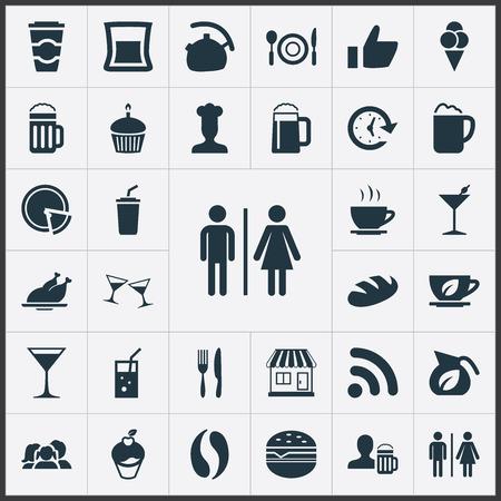 要素の親、ガラス、コーン、他の同義語ケトル料理とグリル。 シンプルなレストラン アイコンのベクター イラスト セット。