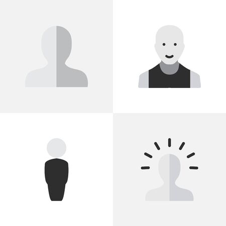 Elements Man, Contour, Profile And Other Synonyms Boy, Contour And Profile.  Vector Illustration Set Of Simple Avatar Icons. Illustration