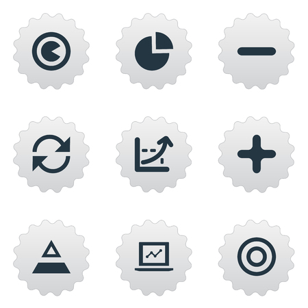 Elements Coordinate Axis, Pie Bar, Refresh And Other Synonyms Refresh, Segment And Add.  Vector Illustration Set Of Simple Diagram Icons.