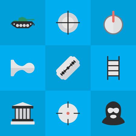Elements Grille, Target, Criminal And Other Synonyms Sniper, Shot And Burglar.  Vector Illustration Set Of Simple Criminal Icons. Ilustração