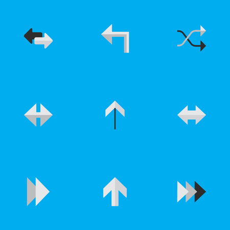 위쪽, 모든 요소, Chaotically 그리고 다른 동의어 Next, Ahead And Up. 벡터 일러스트 레이 션 간단한 포인터 아이콘의 집합입니다.