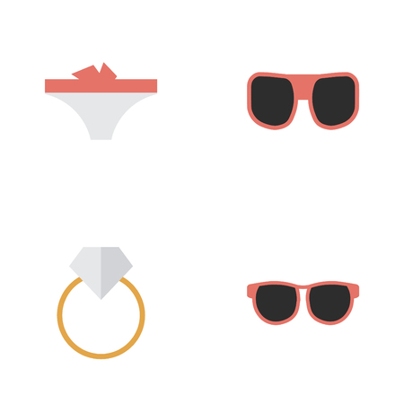 Elements Glasses, Eye Accessory, Engagement And Other Synonyms Panties, Accessory And Ring.  Vector Illustration Set Of Simple Instrument Icons.
