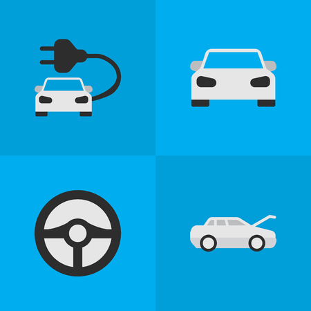Elements Sport, Automobile, Steering And Other Synonyms Charge, Steering And Car.  Vector Illustration Set Of Simple Transportation Icons. Illustration