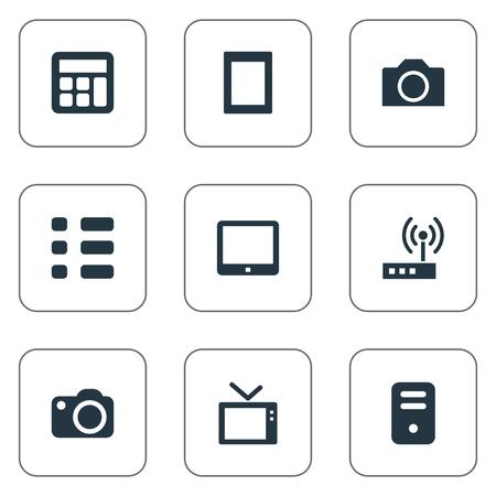 요소 일정, 터치 컴퓨터, 터치 패드 및 기타 동의어 디스플레이, 터치 및 패드. 벡터 일러스트 레이 션 간단한 가제트 아이콘의 집합입니다.