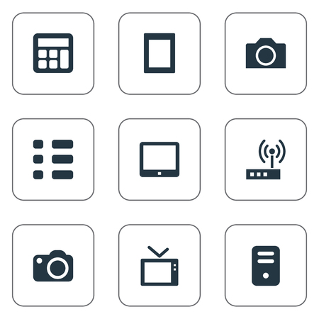 Elements Schedule, Touch Computer, Touchpad And Other Synonyms Display, Touch And Pad.  Vector Illustration Set Of Simple Gadget Icons.