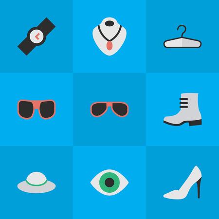 요소 손목 시계, 옷 걸이, 선글라스 및 기타 동의어 비전, 초커 및 안경. 벡터 일러스트 레이 션 간단한 악기 아이콘의 집합입니다.