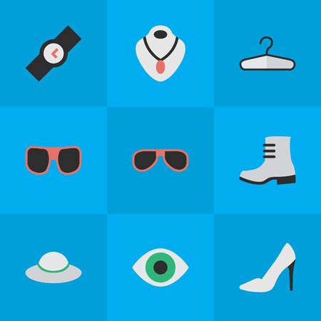 Elements Wristwatch, Clothes Hook, Sunglasses And Other Synonyms Vision, Choker And Glasses.  Vector Illustration Set Of Simple Instrument Icons. Иллюстрация