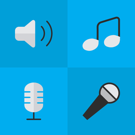 loudness: Elements Loudness, Music Sign, Mike And Other Synonyms Sign, Make And Note.  Vector Illustration Set Of Simple Melody Icons. Illustration