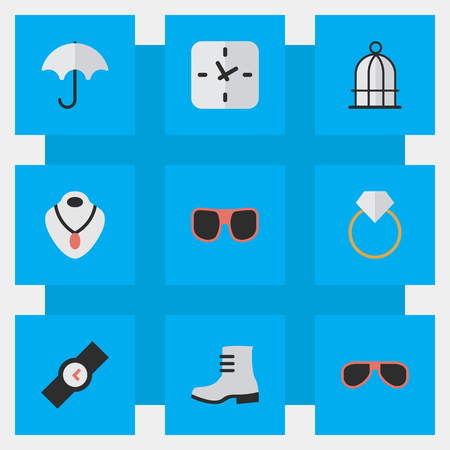 Elements Jewelry, Eye Accessory, Wristwatch And Other Synonyms Clock, Rain And Watch.  Vector Illustration Set Of Simple Instrument Icons.