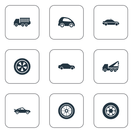 Elements Siren, Rotation, Faucet And Other Synonyms Rubber, Repair And Automotive.  Vector Illustration Set Of Simple Transport Icons. 向量圖像