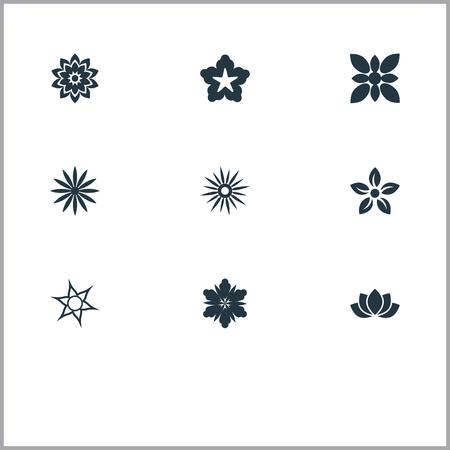 Elementen Cypress, Ornament, Camellia en andere synoniemen Bloemen, Bloei en glorie. Vector illustratie Set van eenvoudige pictogrammen. Stock Illustratie