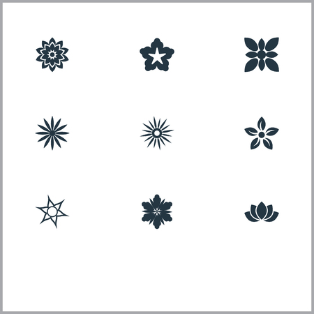 aster: Elements Cypress, Ornament, Camellia And Other Synonyms Floral, Blossoming And Glory.  Vector Illustration Set Of Simple  Icons.